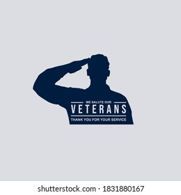 Soldier's silhouette giving salute with text thank you for veterans' service isolated on dark background perfect for Veterans Day illustration