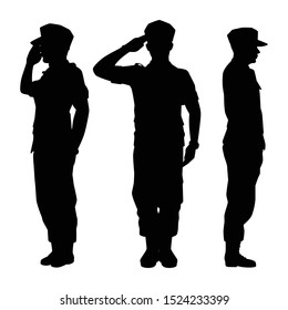 Soldiers silhouette vector on white background