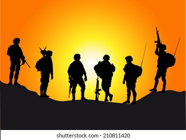 Soldiers silhouettes against a sunset vector collection.