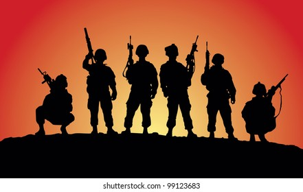 Soldiers silhouettes against a sunset vector image