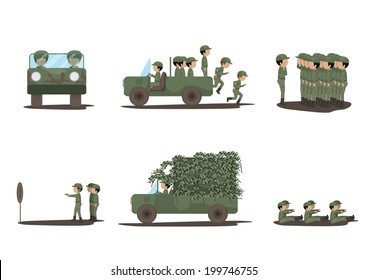 Soldiers Training - Isolated On White Background - Vector Illustration, Graphic Design Editable For Your Design