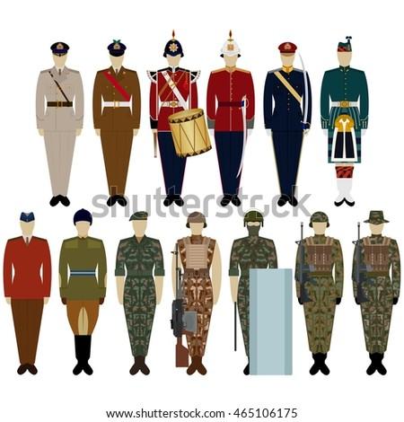 Soldiers Uniform British Army Illustration On Stock Vektorgrafik
