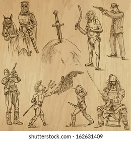 Soldiers, Warriors and Heroes (set no.2)-Collection of hand drawn illustrations (originals, no tracing). Description: Each drawing comprises two layers of outlines, the colored background is isolated.