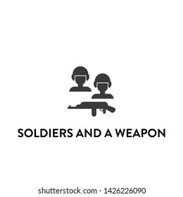 soldiers and a weapon icon vector. soldiers and a weapon vector graphic illustration