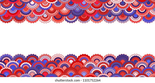 Solemn american flag ribbons bunting decoration. Patriotic USA red blue white background. Bright pattern in american colors, memorial or Independence Day striped frame vector background.