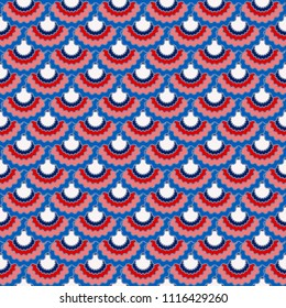 Solemn american flag ribbons bunting decoration. Patriotic USA red blue white background. Seamless pattern in american colors, 4th July Independence Day ribbons decor background. Textile pattern.