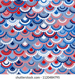 Solemn american flag ribbons bunting decoration. Patriotic USA red blue white background. Seamless pattern in american colors, 4th July Independence Day striped decor background. Fabric pattern.