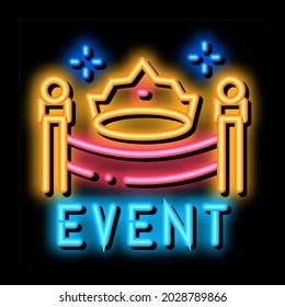 solemn presentation event neon light sign vector. Glowing bright icon solemn presentation event sign. transparent symbol illustration