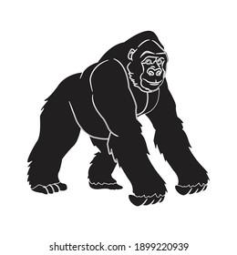 solid animal gorilla icon vector illustration
