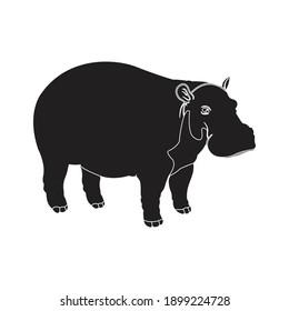 solid animal hippopotamus icon vector illustration