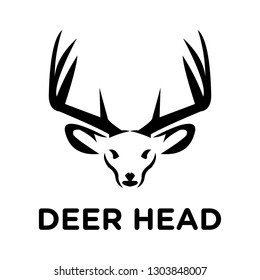 solid black deer head logo and icon, clip art vector