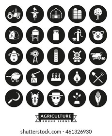 Solid black farming and agriculture vector round icons collection