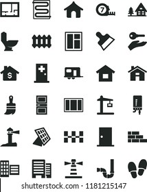 solid black flat icon set house vector, dwelling, brick wall, window, frame, long meashuring tape, wooden paint brush, toilet, siphon, lay out of flat, ntrance door, interroom, buildings, city block