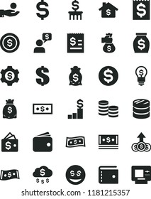 solid black flat icon set purse vector, dollar, coins, column of, denomination the, article on, financial item, catch a coin, wallet, money, dollars, cash, bag hand, rain, mortgage, pedestal, gear