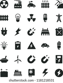 solid black flat icon set lightning vector, danger of electricity, dangers, new radiator, a bowl buckwheat porridge, charging battery, coal mining, windmill, accumulator, bulb, hydroelectric station