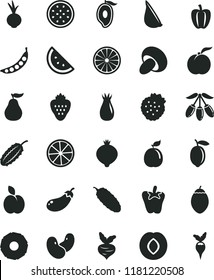 solid black flat icon set porcini vector, cucumber, peper, beet, garlic, strawberry, strawberries, apple, orange slice, ripe peach, plum, rose hip, medlar, half of mango, goji berry, lemon, guava