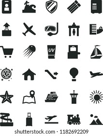 solid black flat icon set plane vector, train, sail boat, air balloon, airport tower, escalator, security gate, rolling suitcase, baggage scanner, departure, hotel, boungalow, sun, uv cream, surfing