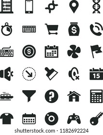 solid black flat icon set house vector, camera, calendar, keyboard, silent mode, question, abacus, putty knife, flag, smartphone, no sound, T shirt, phone call, right bottom arrow, fan screw, cart