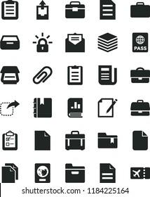 solid black flat icon set clip vector, clean sheet of paper, scribbled, upload archive data, folder bookmark, portfolio, received letter, notebook, case, passport, pile, drawer, notes, survey, file