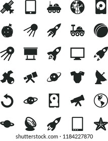 solid black flat icon set monitor vector, counterclockwise, t short, bath ball, artificial satellite, planet, Earth, billboard, rocket, tablet pc, hdd, telescope, antenna, saturn, lunar rover, first