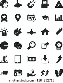 solid black flat icon set pie chart vector, negative histogram, yule, temperature, lens, move down, right, biscuit, location, get a wage, schedule, urgent cargo, tablet pc, gpu card, connect, clock