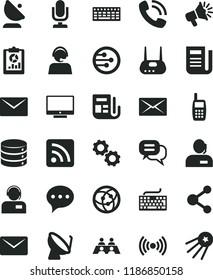 solid black flat icon set desktop microphone vector, keyboard, rss feed, envelope, speech, screen, big data, operator, satellite dish, antenna, connection, statistical overview, loudspeaker, mobile