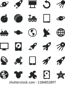 solid black flat icon set monitor vector, counterclockwise, t short, bath ball, earth, artificial satellite, planet, billboard, rocket, space, tablet pc, hdd, antenna, saturn, lunar rover, first