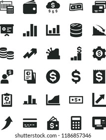 solid black flat icon set bank card vector, growth up, chart, calculation, cards, coins, column of, bar, recession, statistical overview, denomination the dollar, financial item, wallet, research