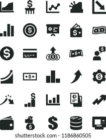 solid black flat icon set bank card vector, growth up, dollar, bar chart, graph, negative, column of coins, a crisis, wallet, statistical research, cashbox, financial report, money bag hand, arrow