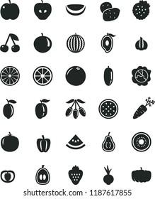 solid black flat icon set beet vector, strawberry, strawberries, cherry, apple, squash, tasty, water melon, half of mango, goji berry, date fruit, tangerine, loquat, ripe plum, lemon, juicy, kiwi
