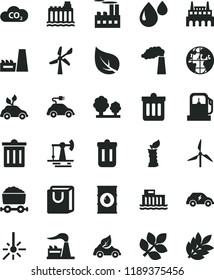 solid black flat icon set bin vector, dust, bag with handles, apple stub, working oil derrick, leaf, gas station, windmill, wind energy, manufacture, factory, hydroelectric, hydroelectricity, trees