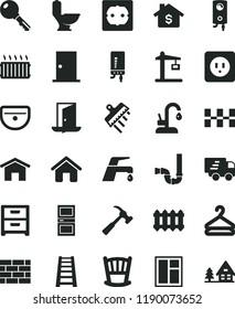 solid black flat icon set cradle vector, house, brickwork, window, stepladder, sink, toilet, siphon, power socket type b, f, ntrance door, interroom, ceramic tiles, spatula, new radiator, kitchen