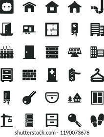 solid black flat icon set bedside table vector, chest of drawers, dwelling, brickwork, window, sink, siphon, laying out, power socket type f, key, door knob, ntrance, interroom, buildings, radiator