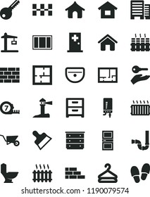 solid black flat icon set chest of drawers vector, house, dwelling, brickwork, brick wall, building trolley, window frame, long meashuring tape, sink, toilet, siphon, laying out, lay flat, key