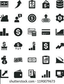 solid black flat icon set bank card vector, growth up, bar chart, calculation, column of coins, recession, statistical report, overview, dollar, financial item, wallet, cash, research, cashbox, rain