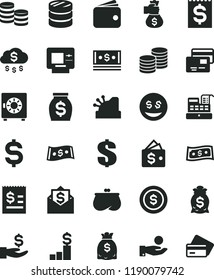 solid black flat icon set dollar vector, strongbox, cards, coins, column of, denomination the, article on, financial item, get a wage, catch coin, wallet, purse, money, dollars, cash, machine, rain