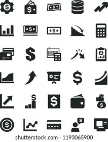 solid black flat icon set bank card vector, growth up, dollar, graph, chart, calculation, cards, column of coins, recession, a crisis, statistical overview, denomination the, financial item, wallet