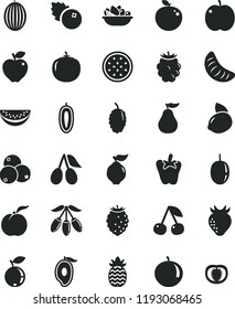 solid black flat icon set a plate of fruit vector, peper, blueberries, cherry, ripe peach, apple, quince, red, strawberry, cornels, blackberry, tasty raspberry, blueberry, mulberry, melon, tangerine