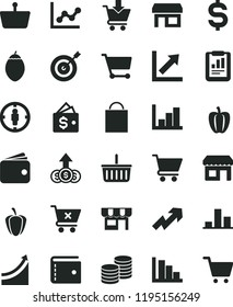 solid black flat icon set paper bag vector, grocery basket, purse, growth up, graph, chart, negative histogram, positive, cart, put in, crossed, kiosk, coins, tamarillo, Bell pepper, ripe, stall
