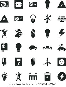 solid black flat icon set lightning vector, danger of electricity, matte light bulb, saving, power socket type b, f, dangers, charging battery, solar panel, windmill, wind energy, line, pole, sun