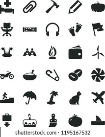 solid black flat icon set clip vector, open pin, footprints, plastic brush, building level, hammer with claw, headphones, umbrella, flag, torte, a bowl of rice porridge, tomato, coffee beans, pencil