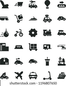 solid black flat icon set truck lorry vector, cargo trolley, car child seat, motor vehicle present, bicycle, Kick scooter, big core, cardboard box, shipment, sea port, modern gas station, eco, retro
