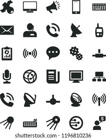 solid black flat icon set desktop microphone vector, monitor window, envelope, toy mobile phone, speech, screen, smartphone, call, artificial satellite, gears, dish, statistical overview, scheme