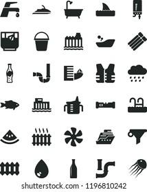 solid black flat icon set measuring cup for feeding vector, children's bathroom, rainy cloud, bucket, bath, siphon, construction level, new radiator, faucet mixer, electronic boiler, drop, fish