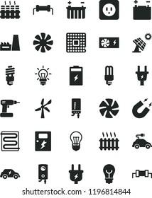 solid black flat icon set cordless drill vector, power socket type b, dangers, heating coil, radiator, boiler, electronic, bulb, charging battery, big solar panel, wind energy, accumulator, plug