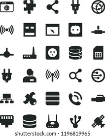 solid black flat icon set Puzzle vector, power socket type b, f, big data, phone call, plug, electric, SIM card, connection, connections, scheme, dispatcher, usb, router, network, browser, connect