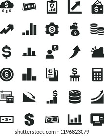 solid black flat icon set growth up vector, dollar, bar chart, calculation, coins, column of, recession, statistical overview, denomination the, research, calculator, cashbox, graph, money bag hand