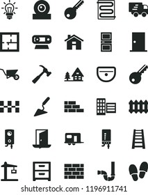 solid black flat icon set house vector, brickwork, brick wall, building trolley, trowel, stepladder, sink, siphon, laying out, key, ntrance door, interroom, city block, ceramic tiles, heating coil