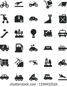 solid black flat icon set cargo trolley vector, sitting stroller, motor vehicle, car, cardboard box, shipment, sea port, commercial seaport, coal mining, gas station, canister, eco, electric, urgent