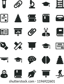 solid black flat icon set clip vector, book, stacking rings, toy, e, books, abacus, writing accessories, drawer, square academic hat, presentation, test tube, microscope, brain, scientist, graduate